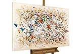 Kunstloft® Cuadro acrílico 'Señales de Primavera' 120x80cm | Original Pintura XXL Pintado a Mano en Lienzo | Colores Abstractos en Beige | Mural acrílico de Arte Moderno en una Pieza con Marco
