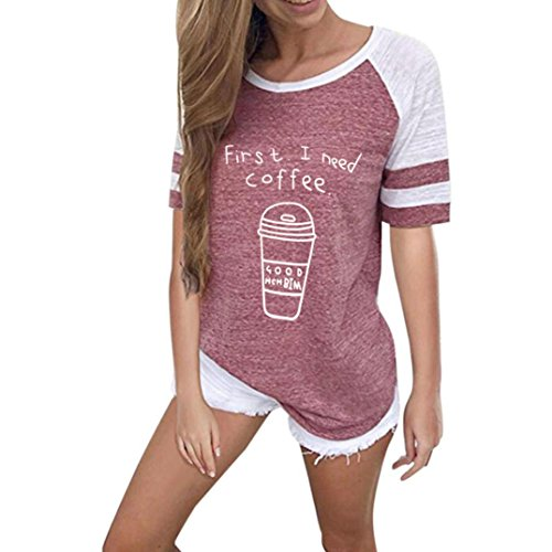 VEMOW Sommer Mode Frauen Damen Mädchen Casual Täglichen Sport O Hals Kurzarm Brief Gedruckt Bluse Tops Kleidung T-Shirt T-Shirts Pullover(Rot, 42 DE/L CN)