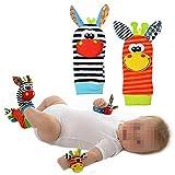 1 par de calcetines para bebé con sonajero, diseño de animales