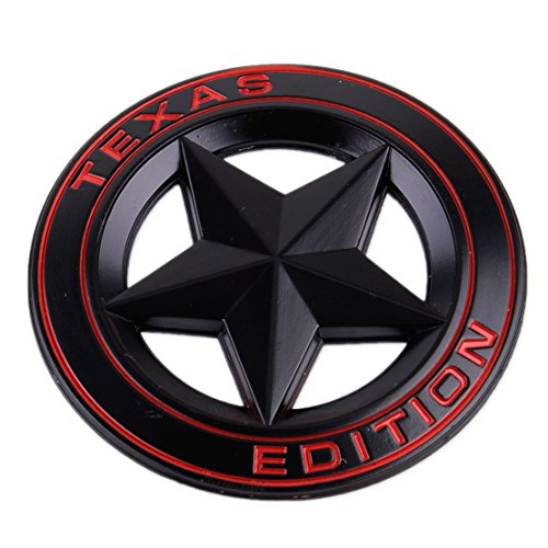 TEXAS EDITION STAR Metall Emblem Aufkleber Schwarz (rot)