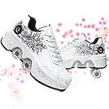 Patines Casual Zapatillas 2 En 1 De Cuatro Ruedas Rueda De Deformación Caminar Doble Utilizar Zapatos Multifuncional Deformación Moda Zapatilla De Deporte