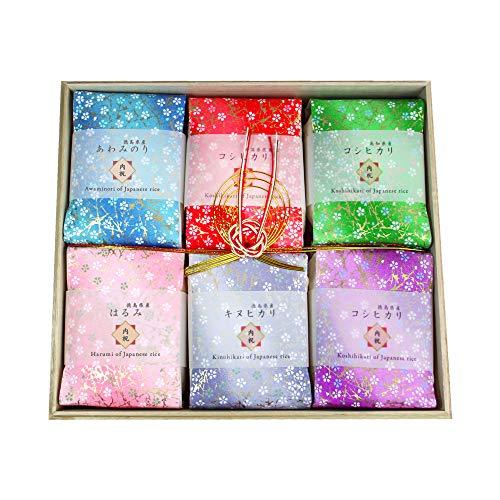 優美米 お米ギフト 食べ比べ 桐箱入り 帯包装 のし付き(内祝) 3合袋(450g)×6品種