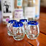 Mexican Shot Glasses | Hand-Blown, Artisan Crafted | Blue Rim Barrel Design | Perfect for Tequila or Mezcal | 2 oz. | Set of 4