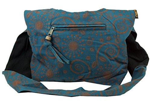 GURU SHOP Sadhu Bag, Shopper, Kleiner Schulterbeutel - Petrol, Herren/Damen, Blau, Baumwolle, Size:One Size, 20x30x10 cm, Alternative Umhängetasche, Handtasche aus Stoff
