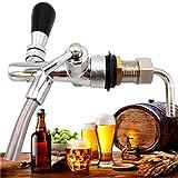 RongWang Grifo de Cerveza de vástago de Tiro Ajustable con Controlador de Flujo Kit de Grifo Cromado Herramienta de fabricación de Vino de Cerveza casera