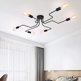 comprar comparacion OYIPRO Moderno Candelabro Negro Lámpara de techo 6 E27 para sala de estar Dormitorio Comedor (Sin bombilla)