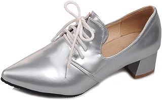 Bonrise Women's Pointed Toe Oxford Pump Wingtip Lace Up Platform Chunky Mid Heel Vintage Dress Oxfords Shoes