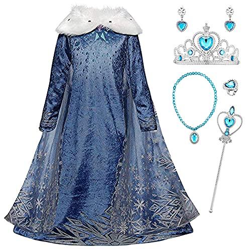 YOSICIL Nias Cosplay Vestido de Princesa Elsa con Capa Vestido de Frozen Manga Larga Vestido Largo Disfraz Azul Dulce Disfraz Ceremonia de Fiesta Halloween Navidad 3-9 aos 100-150cm