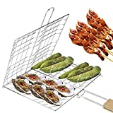 NOPNOG Foldable Grill Grid Clip Barbecue <span class='highlight'>Basket</span> with Wooden Handle <span class='highlight'>Stainless</span> <span class='highlight'>Steel</span>