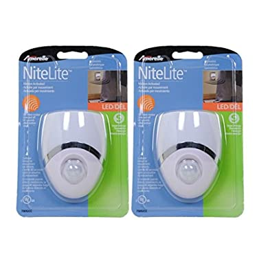 AmerTac Westek LED Motion Sensor Night Light - Ideal for Bedrooms, Bathrooms, Hallways and Stairs - White and Nickel Finish, Pack of 2 - 73092CC