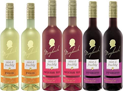 Weinpaket Maybach Süß & Fruchtig (6x0,75L) 2x Spätburgunder Rotwein, 2x Portugieser Rosewein, 2x Riesling Weiß QbA