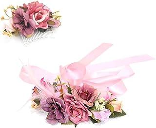fefa364e Ever Fairy moda flor cinturones de flores Conjunto de peine de pelo para  mujer niña dama