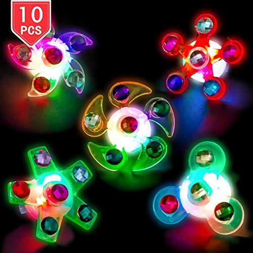 Vientiane Kinderleuchtspielzeug, 10-teilige Partyartikel für Kinder, Kinderleuchtringe und -armbänder, mit LED-Neon-Kreisel und Stressabbau-Spielzeug für Handschleudern
