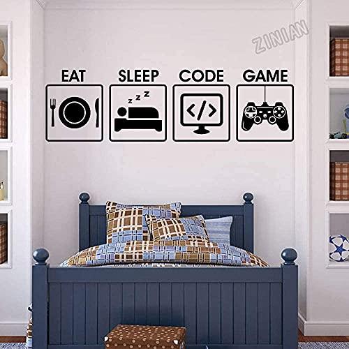 SSCLOCK Sovsal spel väggdekal äta sova spelkod vardagsrum kontroll vinyl väggklistermärke videospel konst väggmålning 42 x 141 cm