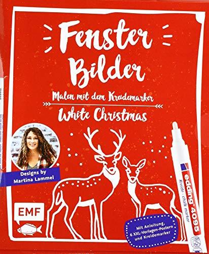 Fensterbilder malen mit dem Kreidemarker – White Christmas: Mit Anleitung, 6 XXL-Vorlagen-Postern und original edding 4090 Kreidemarker (weiß)