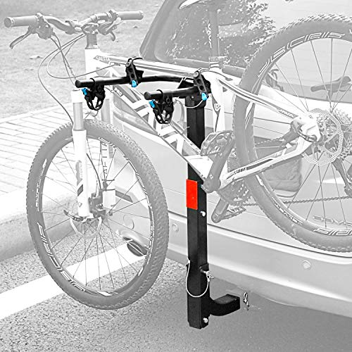 """Leader Accessories Hitch Mounted 2 Bike Rack Bicycle Carrier Racks Foldable Rack for Cars, Trucks, SUV's and Minivans with 2"""" Hitch Receiver"""