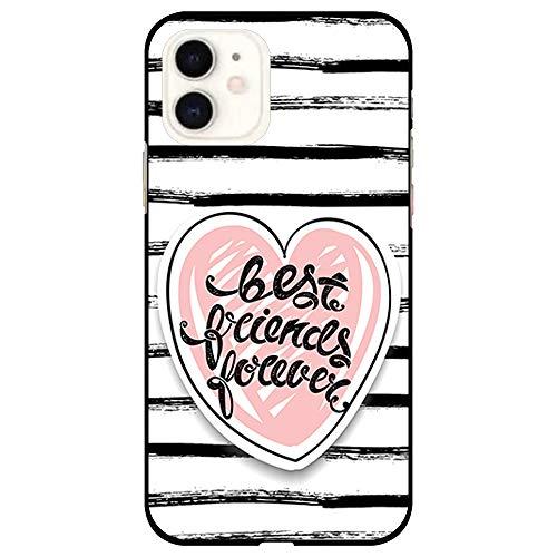 BJJ SHOP Funda Negra para [ iPhone 11 ], Carcasa de Silicona Flexible TPU, diseño: Corazon Best Friends Forever con Fondo a Rayas