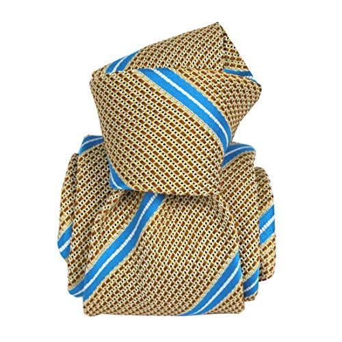 Segni et Disegni. Cravate grenadine de soie. Premium, Soie. Jaune, Club/rayé. Fabriqué en Italie.
