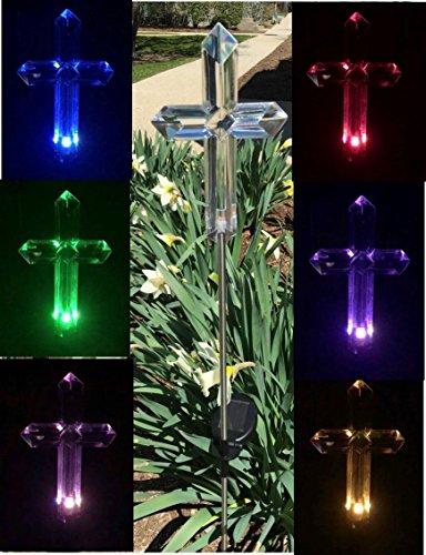 Florals Solar Cross Light Lamp, Solar Powered Garden Decor Stake Color Changing Yard LED Outdoor Landscape Light