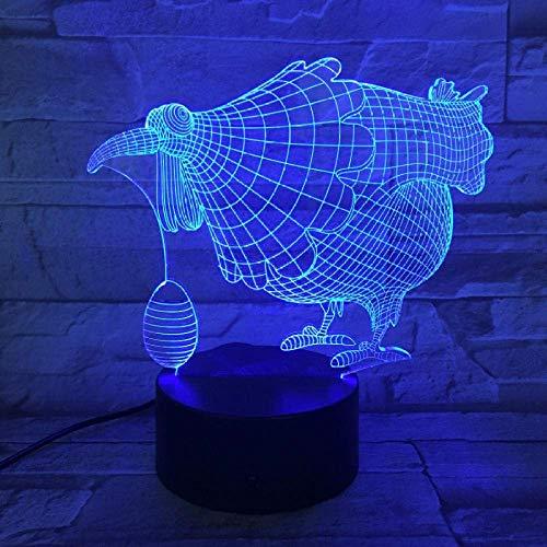 3D Lampe Optical Illusion 7 Bunte Tischlampe Chicken Egg LED Nachtlicht Graviertes Acryl Nachtlicht Crafts Kids
