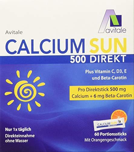 Avitale Calcium Sun 500 Direkt - Zur Vorbereitung Ihrer Haut auf die Sonne mit 500 mg Calcium und 6 mg Beta-Carotin plus Vitamin C, D3 und E, 150 g