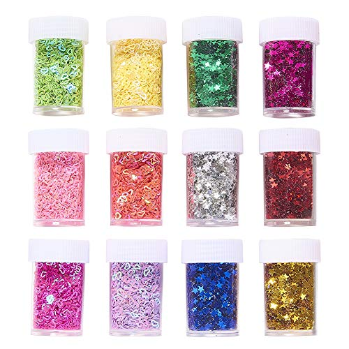 PH PandaHall 24 Pack 12 Color Glitter Sequins Heart Stars Sequin Paillette Beads for Art Crafts Painting Embellishments, Decoration, Scrapbook, Card Making & Makeup NAI