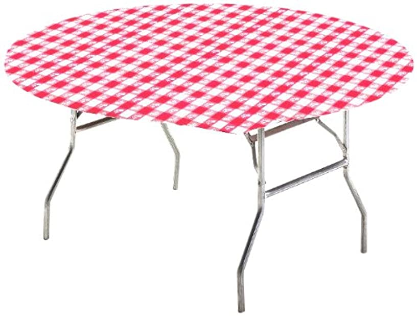 Creative Converting Round Stay Put Table Cover, 60-Inch, Red Gingham