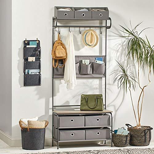 mDesign Coat Rack and Bench Organizer System Storage Unit, 5 Hooks Holds Jackets, Scarves, Purses - 4 Pockets - Hallway, Entryway, Bedroom - Dark Gray/Gray