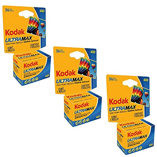 Kodak Ultramax 400 Color Print Film 36 Exp. 35mm DX 400 135-36 (108 Pics) (Pack of 3), Basic