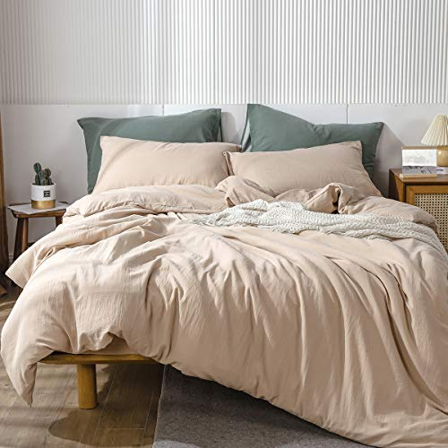 MooMee Pre-Washed Egyptian Cotton Thick High Thread Duvet Cover Set Luxury Bedding Linen Super Soft Breathable Durable Including 1 Comforter Cover 2 Pillow Shams (Heathered Beige, King)