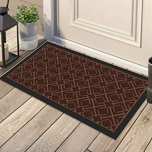 KMAT Door Mat Inside Outside,Anti-Slip Durable Rubber Doormat Indoor Outdoor Front Door Mat Rugs for Entryway,Patio,Lawn,Garage,High Traffic Areas(Low-Profile Design,30x17 inches,Grey)