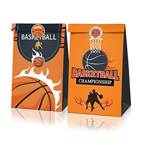 12 PCS Party Favor Bags for Basketball Party Supplies Party Gift Goody Treat Candy Bags with Basketball Pattern Stickers For Basketball Park Party Favors Birthday Party Decor for Kids Adults Friends Birthday Decorations