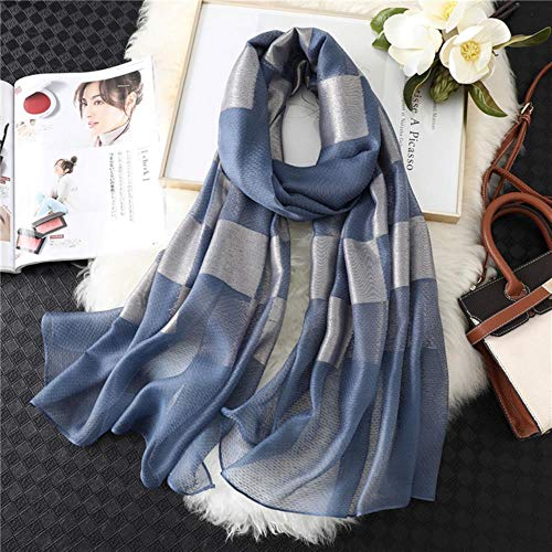 QVC Women Scarf Plaid Silk Shawls Wraps for Lady Hijabs Female Stoles Bandana Summer Sunscreen,Blue