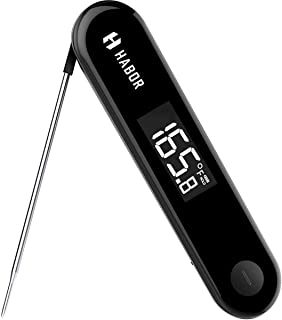Habor Rechargeable Meat Thermometer 3Seconds Instant Read with Sensitive Touchable Button for Home Kitchen Food Turkey Outdoor BBQ Grill Smoker Milk Yogurt, Standard, Black