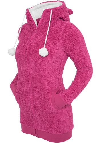 Urban Classics Paula Teddy Zip Hoody Flauschige Jacke über den Po (L, Pink/White)