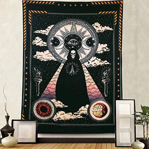 Alumuk Magier Schädel Tapisserie Wandbehang, Sonne und Mond Wandteppich Sterne und Wolken Wandtuch, Schwarz Chakra Tagesdecke, Solar Gotisch Tarot Picknickdecke für Wohnzimmer Schlafzimmer