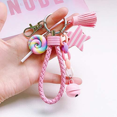 Guiping Encantador llavero de arco iris con correa de cuero trenzado con borla para mujeres y niñas, con colgante de piruleta (color: Lollipop)