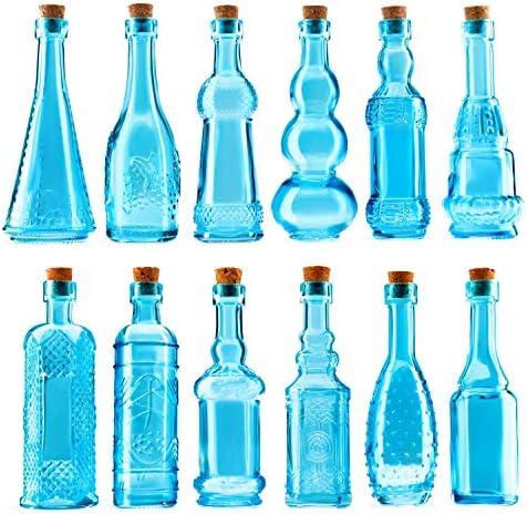 BULK PARADISE Mini Blue Vintage Potion Bottles with Corks Assorted Shape Bud Vases and Decorations product image