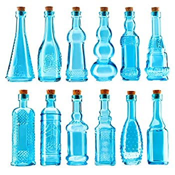 Small Blue Vintage Glass Bottles with Corks Bud Vases Decorative Potion Assorted Design Set of 12 pcs 4.6 Inch Tall  11.43cm  1.4 Inch Wide  3.56cm