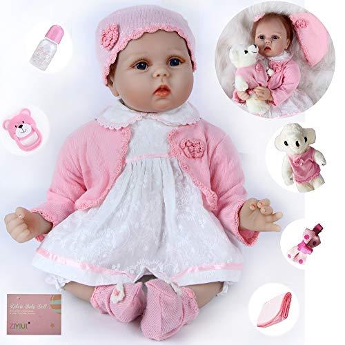ZIYIUI Reborn Baby-Puppe 22 Zoll 55 cm Weiche Vinyl Silikon Simulation Reborn Babys Mädchen Lebensechte Babypuppen Magnetisch Mund Mädchen Junge Spielzeug Geschenk Spielzeug