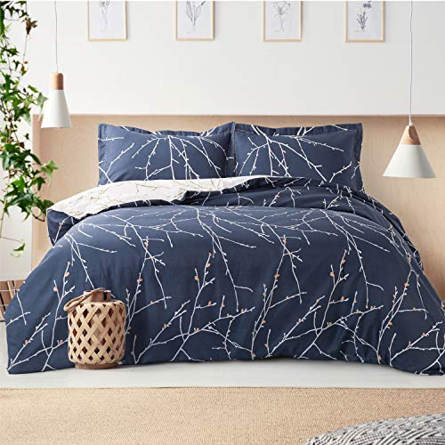 Bedsure Duvet Cover Set Single Size - Navy & Ivory Branch Pattern 3 pcs with Zipper Closure 135x200cm with 1 Pillow cover 50x75cm Ultra Soft Hypoallergenic Microfiber Quilt Cover Sets