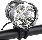 SSU Bike Light, 6000 Lumen 5 LED Bicycle Headlight, Waterproof Mountain Bike Front Light Headlamp with 6400mAh Rechargeable Battery Pack