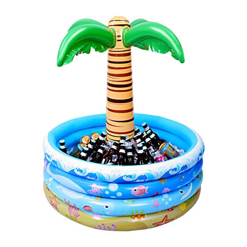 STOBOK Nevera hinchable de palmera, 95 cm, enfriador de palmeras tropical, decoración para fiestas de playa, para piscina, luau y Hawaii Party