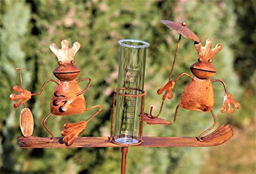Regenmesser Metall / Gartenstecker Gartendeko Rostoptik Froschkönige
