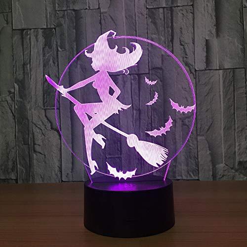 Luz de noche colorida multicolor halloween murcilago bruja escoba acrlico cambio de color lmpara de mesa 3D lmpara de sala de estar LED lmpara de bricolaje luminosa de 7 colores