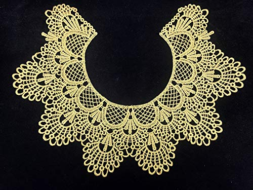 1pc Embroidery Round Ripple Neck African Lace Fabric Collar,DIY Handmade Lace Fabrics for Sewing Crafts (Gold)