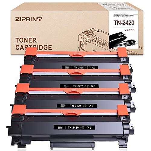 ZIPRINT TN-2420 TN2420 - Cartucce toner compatibili per Brother TN-2420 TN2420 TN2410 per Brother HL-L2370DN HL-L2375DW MFC-L2710DN MFC-L2710DW MFC-L2750DW DCP-L2510D DCP-L2530DW(4 Pack) )