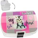 alles-meine.de GmbH Lunchbox / Brotdose -  süße Katze / Kätzchen  - inkl. Name - mit extra Einsatz / herausnehmbaren Fach - BPA frei - SUPERLEICHT - Brotbüchse Küche Essen - fü..