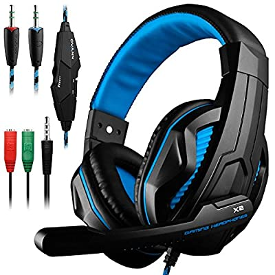 Gaming headset, Dland 3.5 mm wired PC stereo gaming headband–headphones with microphone for R PS4,PC, iPhone, smart phone, laptop, tablet, iPad, iPod, mobile phones, MP3,MP4. black and blue