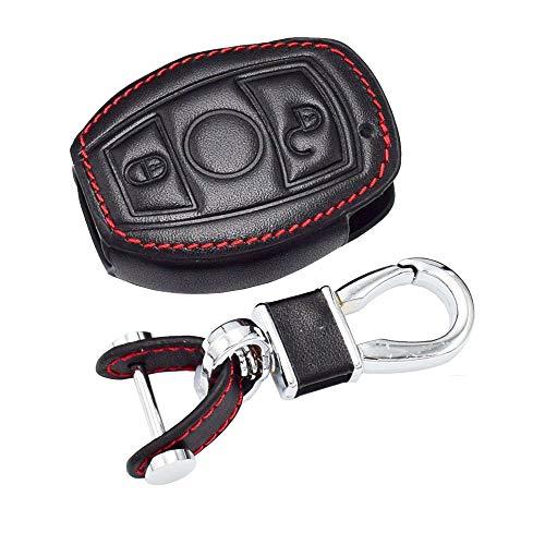 HYSSYH Funda de Cuero para Llave de Coche, para Mercedes Benz EC Class C260 AMG 2 Botones Smart Keyless Remote Fob Cover Keychain Holder Protector Bolsa
